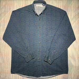 Vintage early 90s anchor blue patterned shirt blue